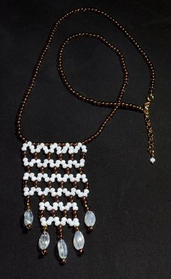Cleopatra Necklace, White and Fumée Crystals and Czech Porcelain - buy online