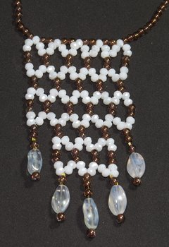 Cleopatra Necklace, White and Fumée Crystals and Czech Porcelain