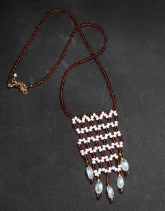 Cleopatra Necklace White and fumée Crystals and Czech Porcelain