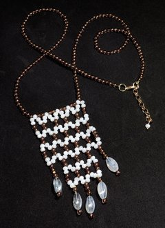 Cleopatra Long Necklace white and dark grey crystals and Czech porcelain.