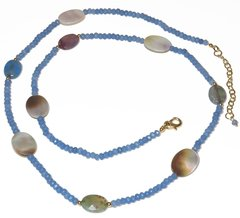 Christine necklace in jade, mother of pearl and agate with golden elements