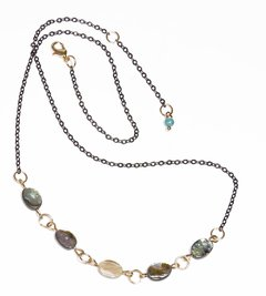 Eilat Necklace with abalone, black rhodium and golden elements