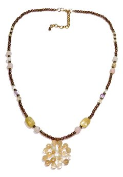 Flora Necklace natural yellow and pink stones