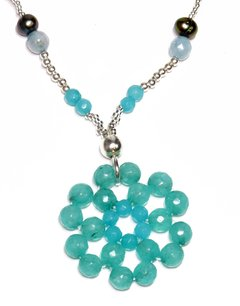 Flora necklace jade, pearl and amethyst. - buy online