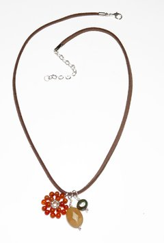 Liege necklace with pearl, citrine and agate - buy online