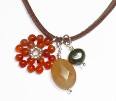 Liege necklace with pearl, citrine and agate
