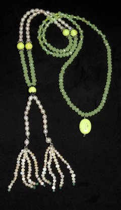 Lia Necklace, Baroque Pearls, Chrysoprase and Crystals