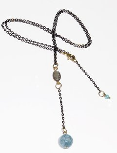Meg tie Necklace with abalone, jade, black rhodium and golden elements