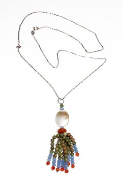 Mia Necklace with mother of pearl, blue jade, agate and jasper pendant and silver chain