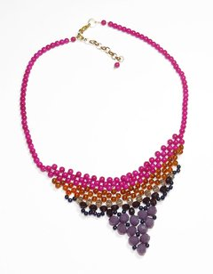 Nefertiti necklace, Pink and purple Czech crystals and porcelain