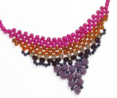 Nefertiti necklace, Pink and purple Czech crystals and porcelain - buy online