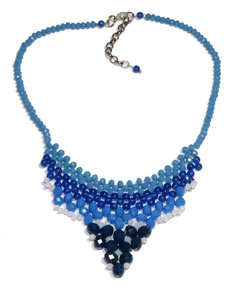Nefertiti necklace, blue crystals and Czech porcelain
