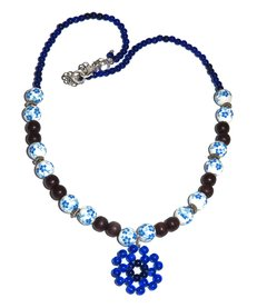 Pauba  Necklace with painted china beads, wood and glass beads.
