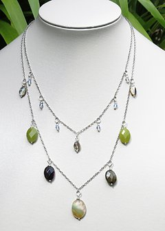 Patricia Necklace with moonstone, abalone, agate, mother of pearl in white rhodium chain