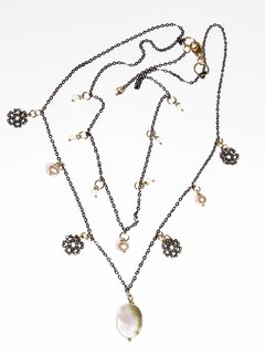 Patricia Necklace with moonstone, light pink pearls, faced hematite, mother of pearl in black rhodium chain - buy online