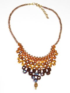 Queen Necklace, Caramel Crystals and Czech Porcelain