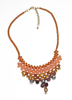 Queen Boho necklace,  salmon crystals and Czech porcelain