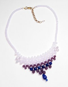 Queen Necklace Purple and Blue Crystals and Jade