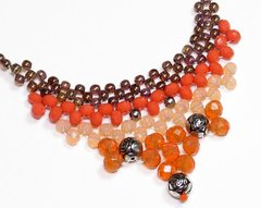 Queen Boho necklace, crystals , Czech porcelain, golden, salmon and coral - buy online
