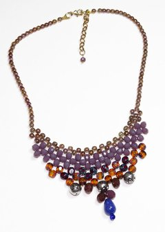 Queen Boho necklace, crystals and Czech golden porcelain, lilac and garnet - buy online