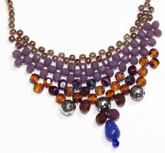 Queen Boho necklace, crystals and Czech golden porcelain, lilac and garnet
