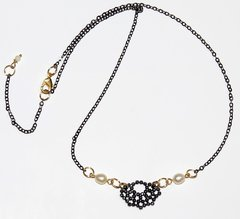 Renda Necklace with faced hematites, pearls, black rhodium and golden elements - buy online