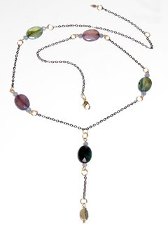 Sabrina necklace in black rhodium, agate stones, abalone and golden details