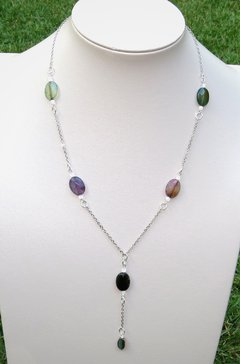 Sabrina necklace in white rhodium, agate stones and abalone