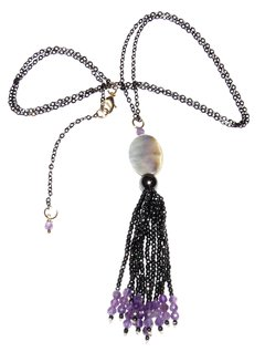 Serena Necklace with black rhodium chain and a pendant with abalone,  amethyst and hematite tassel