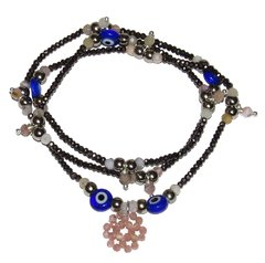 Short necklace/bracelet Sorte with brown crystals and rhodochrosites