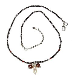 Trio Necklace with crystals, jackstones and three pearl pendants