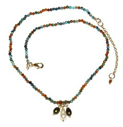 Trio Necklace with turquoise, jackstones and three pearl pendants
