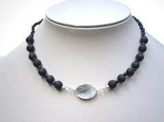 Vivian Necklace with mother of pearl, volcanic stone beads and blue goldstone