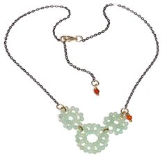 Zizi Necklace with jade pendant and agate in black rhodium chain