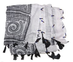 Yasmin black and white printed scarf with bangs and greek eye beads