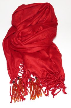 Red Pashmina with Tassels