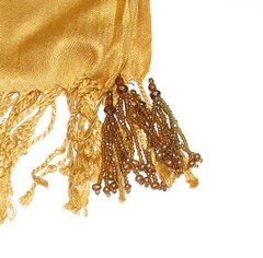 Image of Golden Pashmina with Tassels