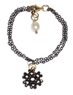 Bibelô bracelet with crystals, black rhodium chain, gold elements and baroque pearl pendant