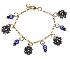 Charm Bracelet with onyx and greek eye pendants, crystal mandala and golden chain