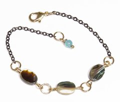 Eilat Bracelet with abalone, black rhodium and golden elements