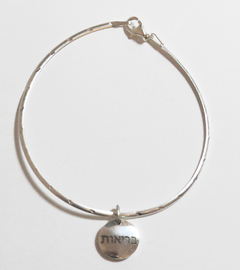 Briut bracelet WITH SOLID SILVER PENDANT WITH HEBREW INSCRIPTION (Good Vibes Collection)