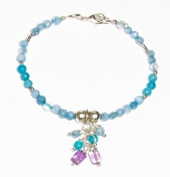 Joy bracelet in turquoise, silver and light blue jade