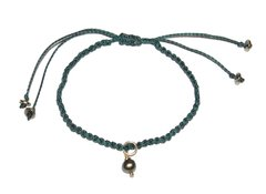 Love macrame bracelet in dark green string with green pearl pendant and silver elements