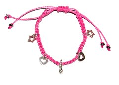 Love macrame bracelet in pink string with five heart, star and fig shape silver pendants and silver elements