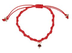 LOVE MACRAME BRACELET IN RED STRING WITH GARNET PENDANT AND SILVER ELEMENTS
