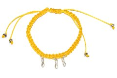 LOVE MACRAME BRACELET IN Yellow STRING WITH three FIG SHAPE SILVER PENDANTS AND SILVER ELEMENTS