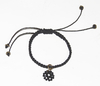 Love macrame bracelet in black string with spinel mandala and golden  elements