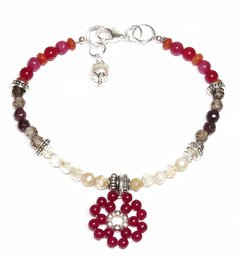 Nani citrine, garnet and jade bracelet