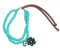 Patuá Bracelet in Glass, Leather and Greek Eye Beads