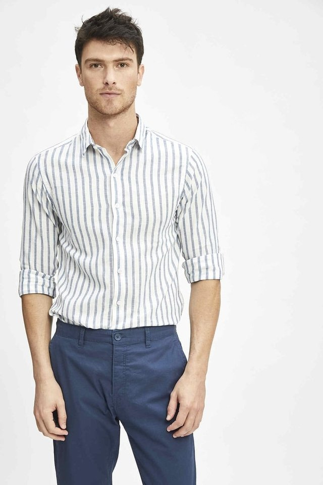 CAMISA STRIPES LINEN - Airborn